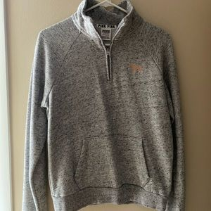 heather gray half zip with sparkly logo on back !